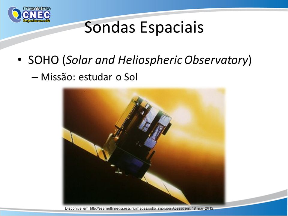 Sondas Espaciais SOHO (Solar and Heliospheric Observatory)