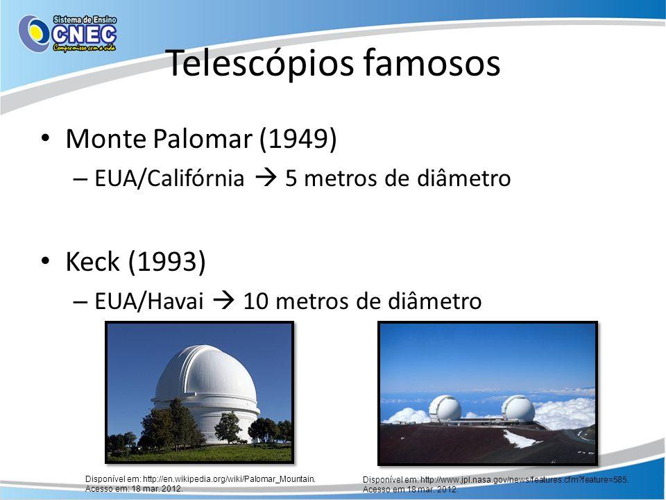 Telescópios famosos Monte Palomar (1949) Keck (1993)