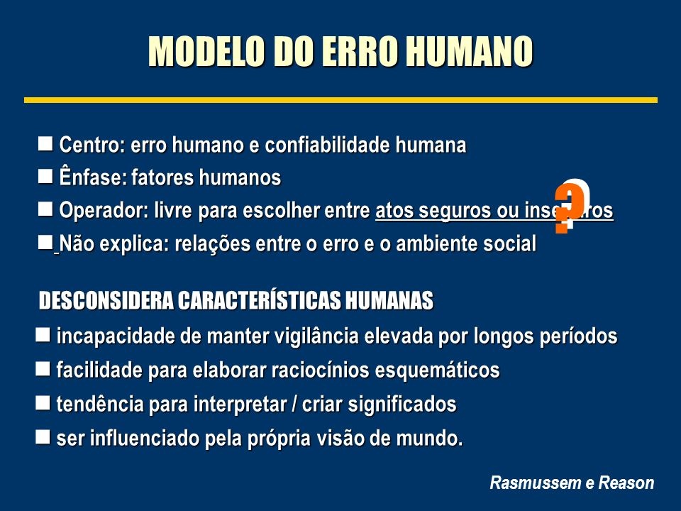 MODELO DO ERRO HUMANO Centro: erro humano e confiabilidade humana