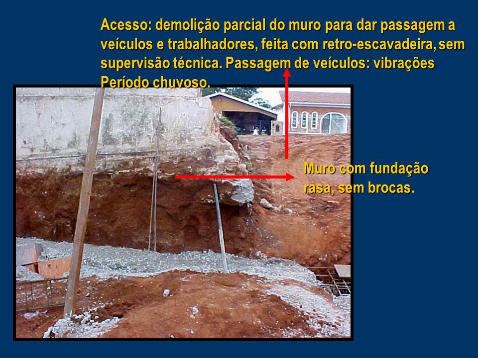Acesso: demolição parcial do muro para dar passagem a veículos e trabalhadores, feita com retro-escavadeira, sem supervisão técnica. Passagem de veículos: vibrações