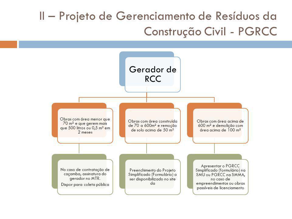 II – Projeto de Gerenciamento de Resíduos da Construção Civil - PGRCC