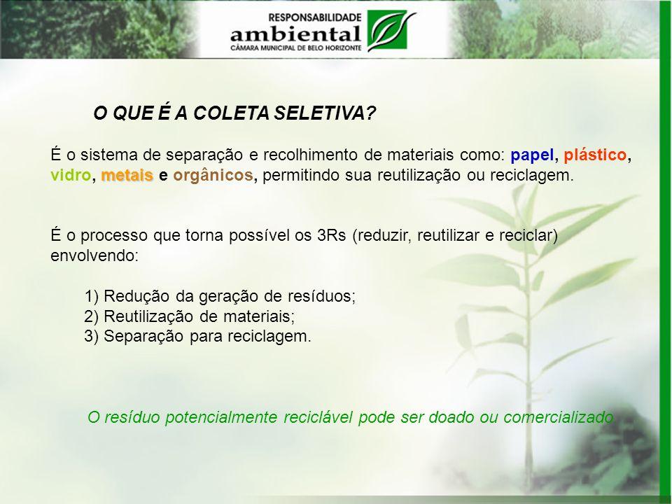 O resíduo potencialmente reciclável pode ser doado ou comercializado.