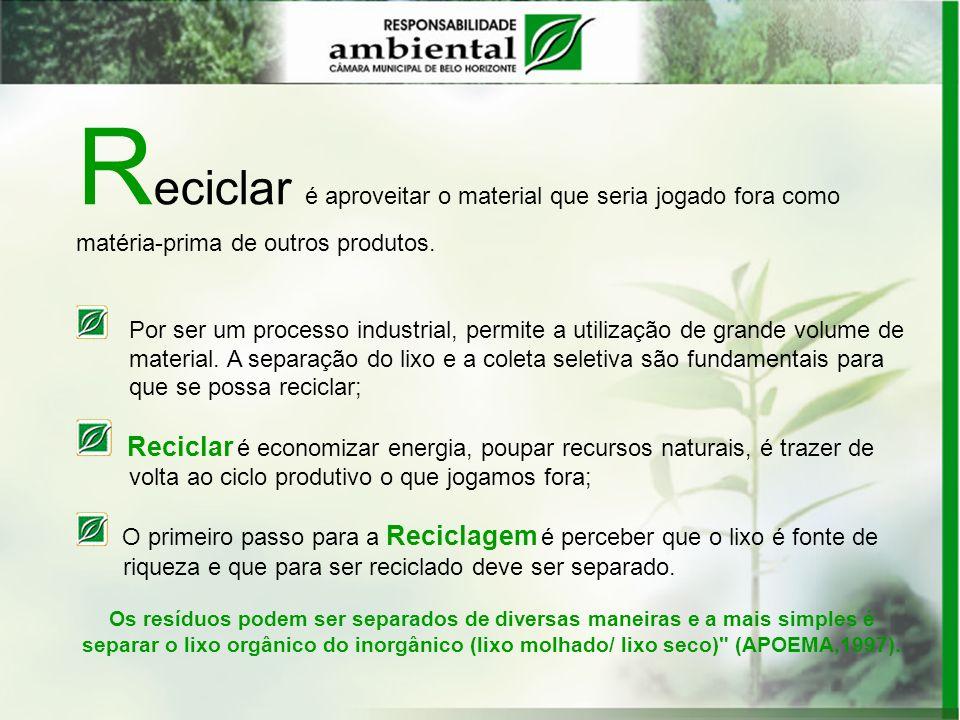Reciclar é aproveitar o material que seria jogado fora como matéria-prima de outros produtos.