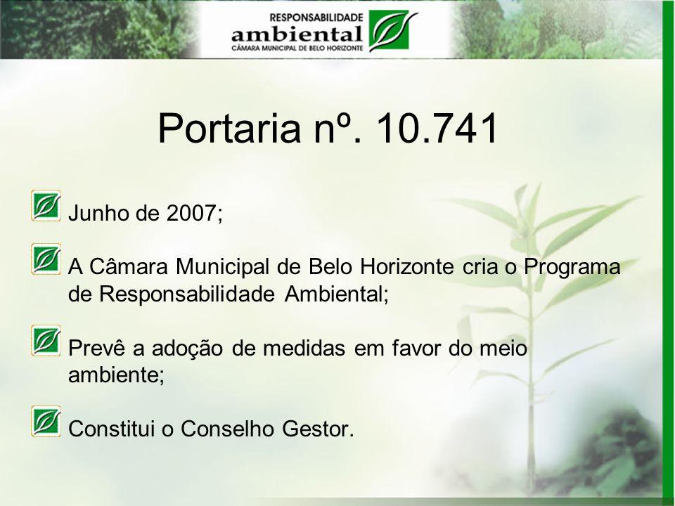 Portaria nº. 10.741Junho de 2007; A Câmara Municipal de Belo Horizonte cria o Programa. de Responsabilidade Ambiental;
