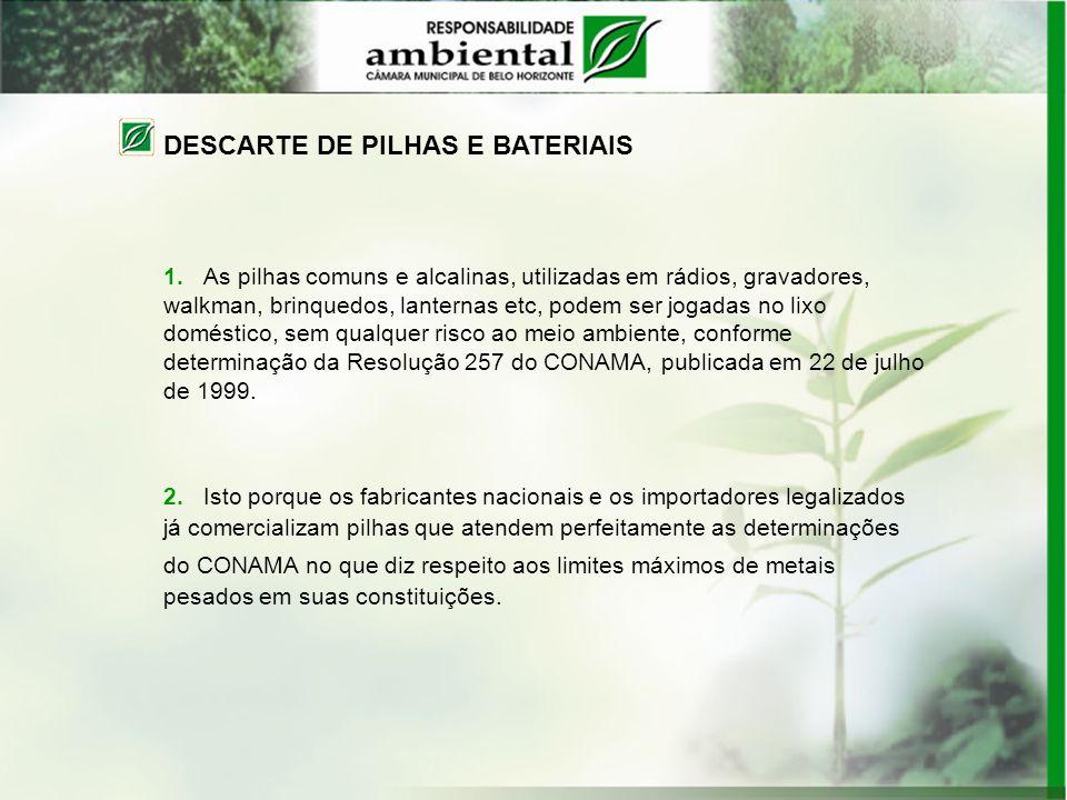 DESCARTE DE PILHAS E BATERIAIS