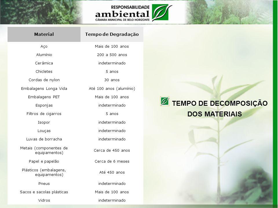 TEMPO DE DECOMPOSIÇÃO DOS MATERIAIS Material Tempo de Degradação Aço
