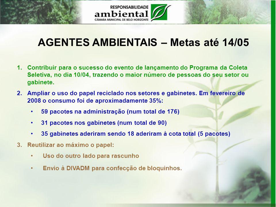 AGENTES AMBIENTAIS – Metas até 14/05