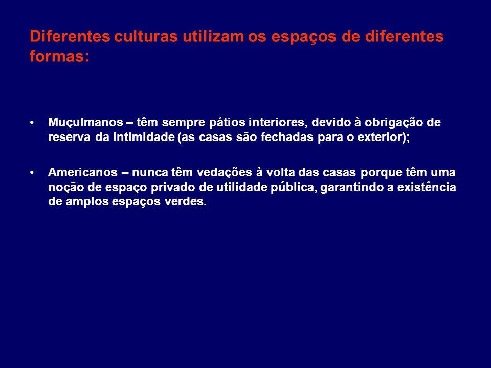 Diferentes culturas utilizam os espaços de diferentes formas: