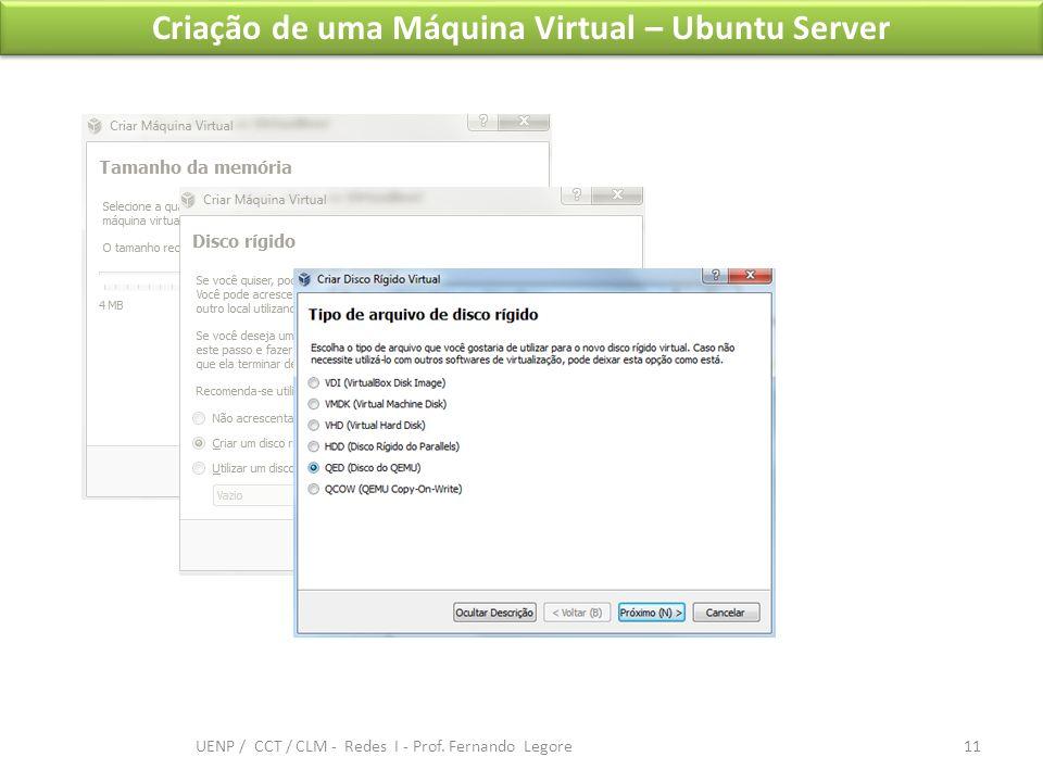 Criação de uma Máquina Virtual – Ubuntu Server