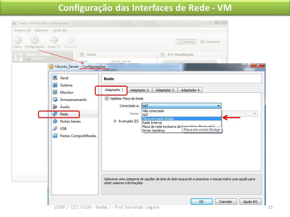 Configuração das Interfaces de Rede - VM