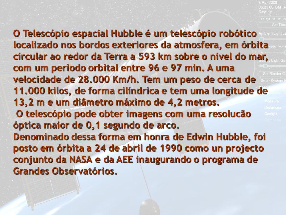O Telescópio espacial Hubble é um telescópio robótico localizado nos bordos exteriores da atmosfera, em órbita circular ao redor da Terra a 593 km sobre o nivel do mar, com um periodo orbital entre 96 e 97 min. A uma velocidade de 28.000 Km/h. Tem um peso de cerca de 11.000 kilos, de forma cilíndrica e tem uma longitude de 13,2 m e um diâmetro máximo de 4,2 metros.