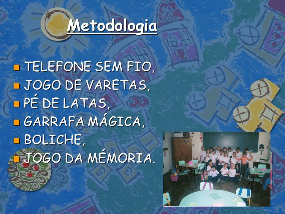 Metodologia TELEFONE SEM FIO, JOGO DE VARETAS, PÉ DE LATAS,
