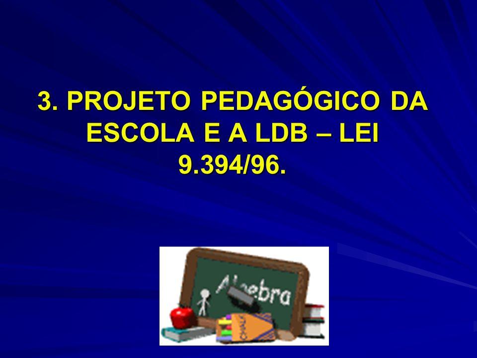 3. PROJETO PEDAGÓGICO DA ESCOLA E A LDB – LEI 9.394/96.