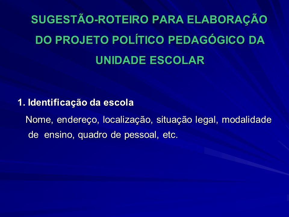 SUGESTÃO-ROTEIRO PARA ELABORAÇÃO DO PROJETO POLÍTICO PEDAGÓGICO DA UNIDADE ESCOLAR