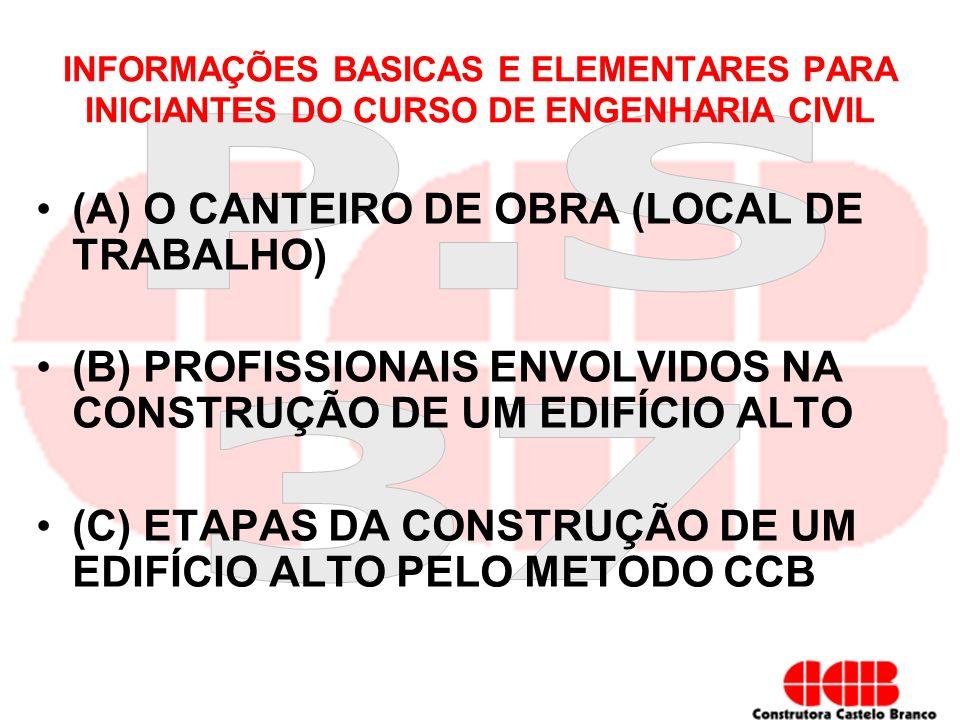 (A) O CANTEIRO DE OBRA (LOCAL DE TRABALHO)
