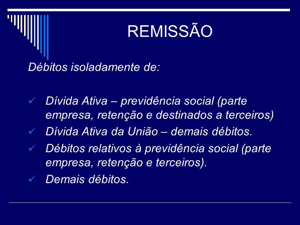 REMISSÃO Débitos isoladamente de: