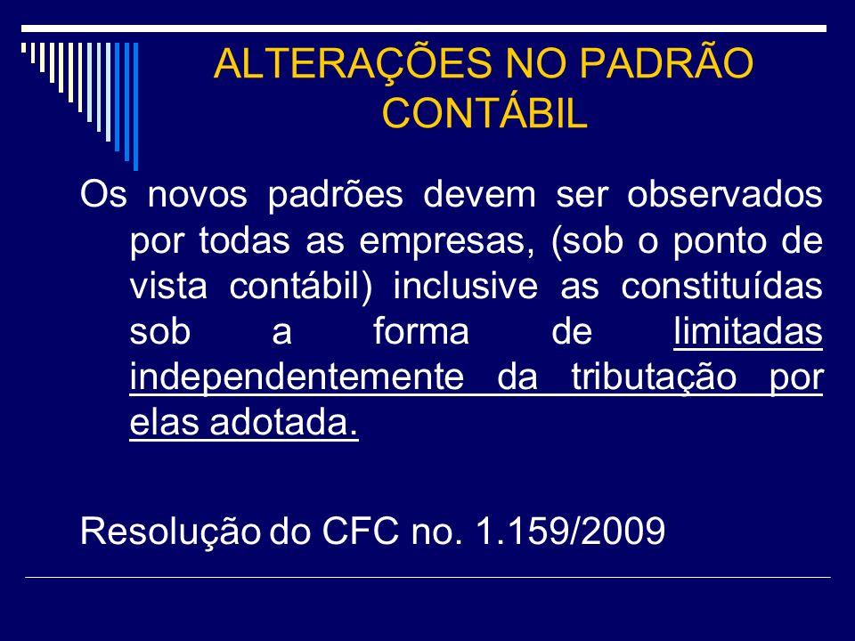 ALTERAÇÕES NO PADRÃO CONTÁBIL