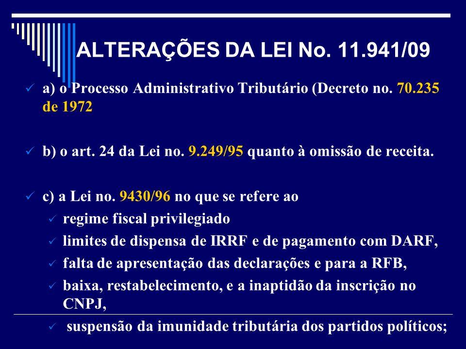 ALTERAÇÕES DA LEI No. 11.941/09 a) o Processo Administrativo Tributário (Decreto no. 70.235 de 1972.