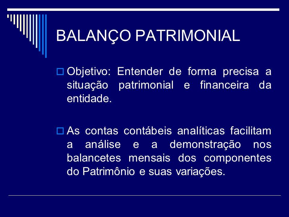 BALANÇO PATRIMONIAL Objetivo: Entender de forma precisa a situação patrimonial e financeira da entidade.