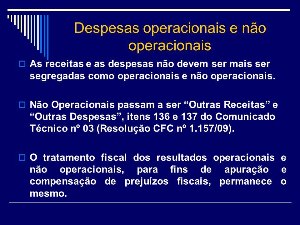 Despesas operacionais e não operacionais