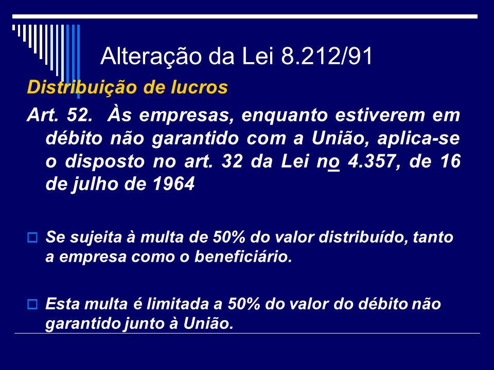 Alteração da Lei 8.212/91 Distribuição de lucros
