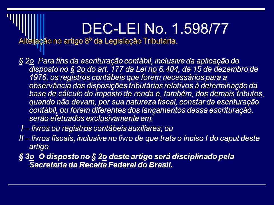 DEC-LEI No. 1.598/77 Alteração no artigo 8º da Legislação Tributária.