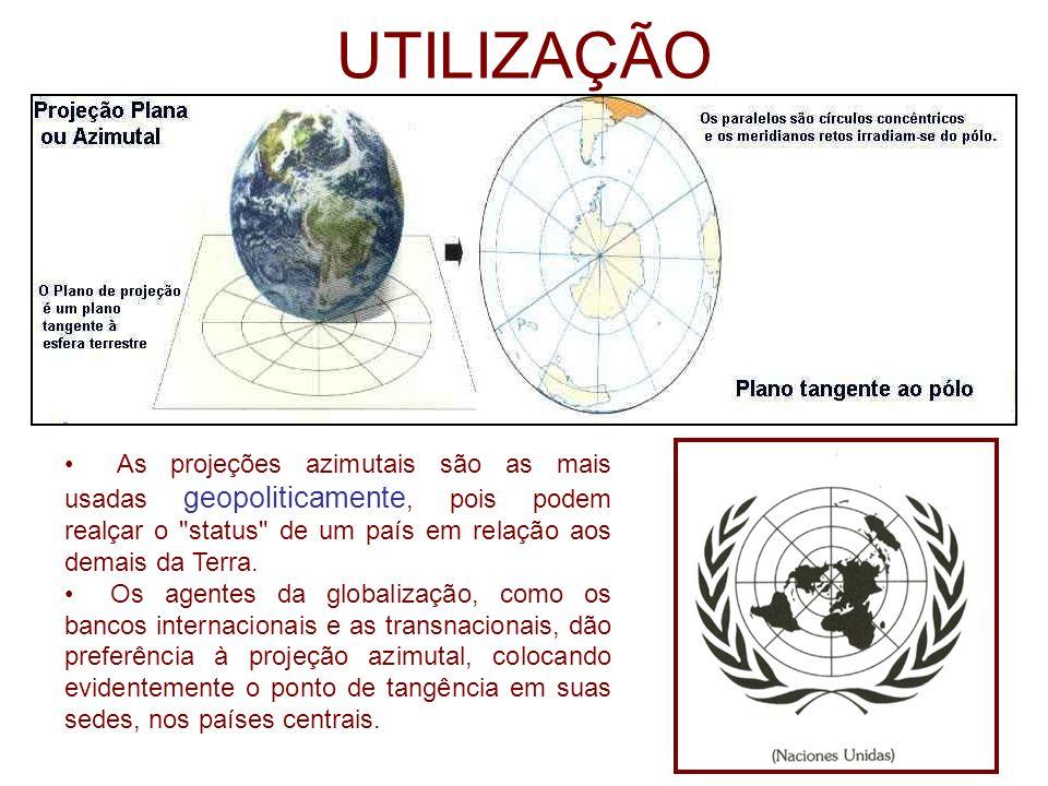 UTILIZAÇÃOAs projeções azimutais são as mais usadas geopoliticamente, pois podem realçar o status de um país em relação aos demais da Terra.