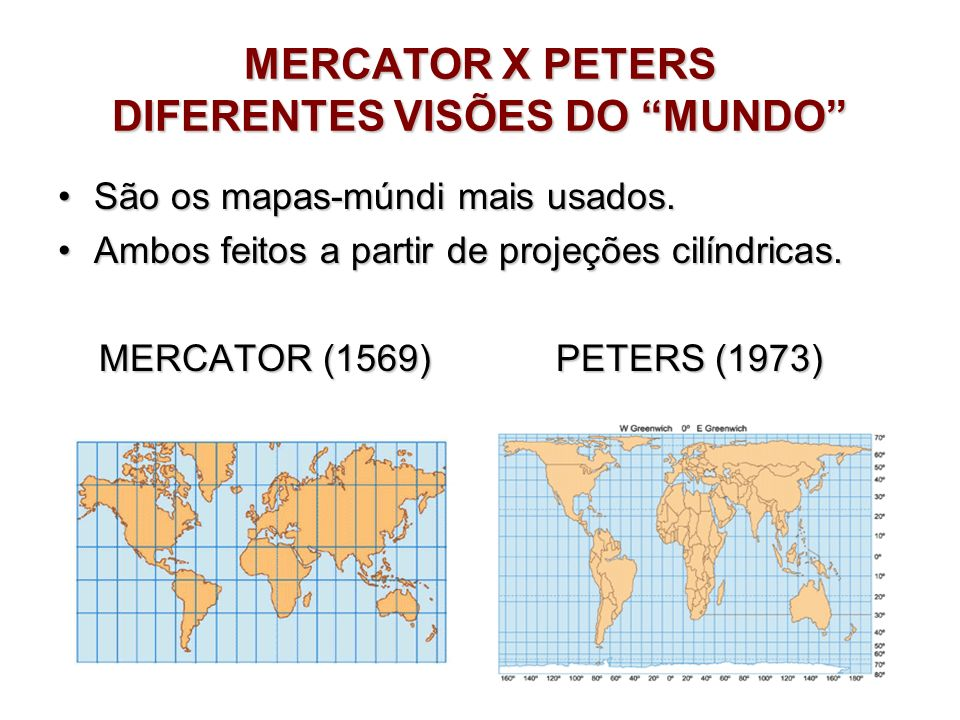 MERCATOR X PETERS DIFERENTES VISÕES DO MUNDO