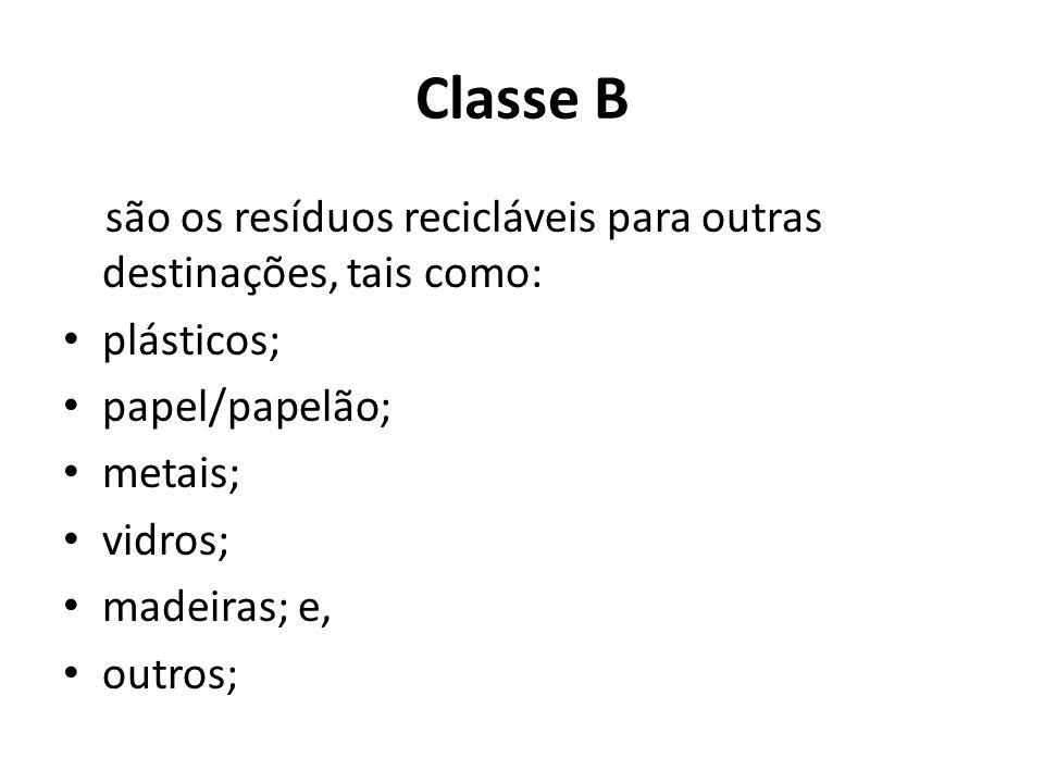 Classe B são os resíduos recicláveis para outras destinações, tais como: plásticos; papel/papelão;