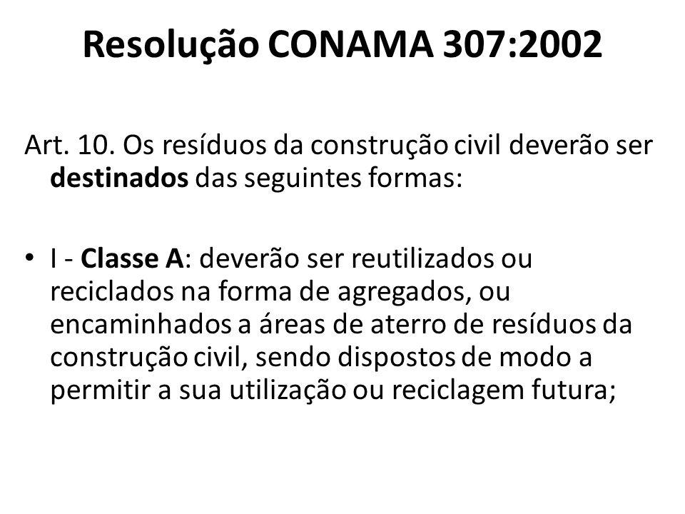 Resolução CONAMA 307:2002 Art. 10. Os resíduos da construção civil deverão ser destinados das seguintes formas: