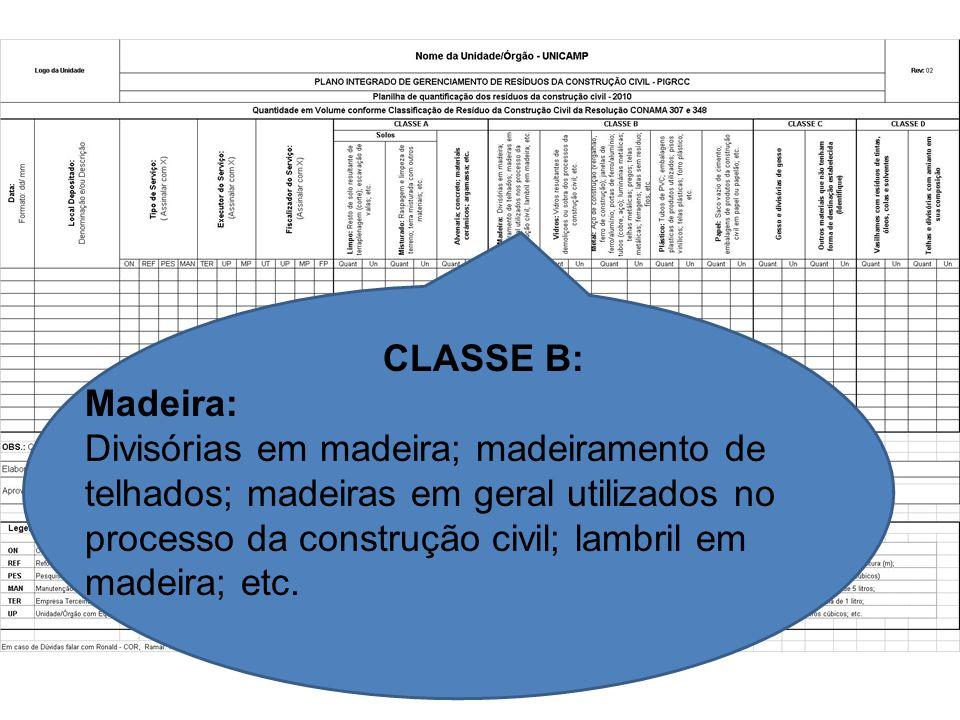 CLASSE B: Madeira: