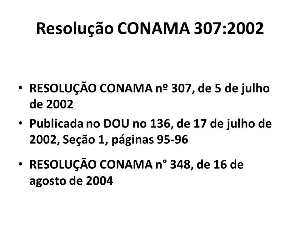 Resolução CONAMA 307:2002 RESOLUÇÃO CONAMA nº 307, de 5 de julho de 2002. Publicada no DOU no 136, de 17 de julho de 2002, Seção 1, páginas 95-96.