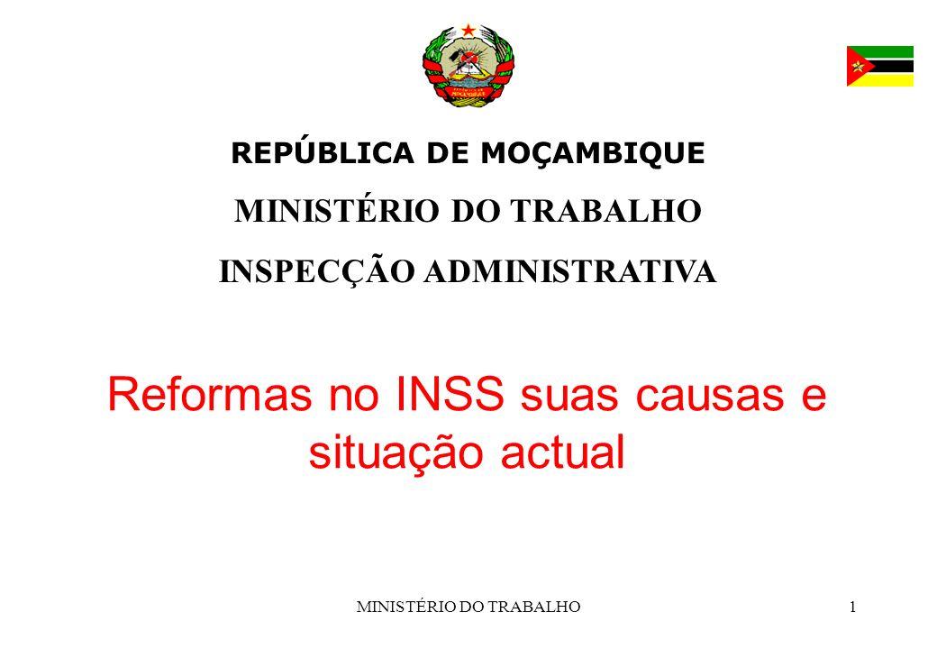 Reformas no INSS suas causas e situação actual