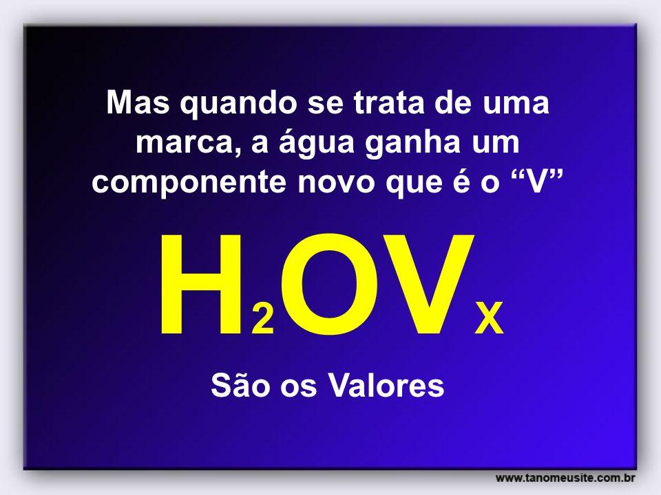 Mas quando se trata de uma marca, a água ganha um componente novo que é o V H2OVX São os Valores