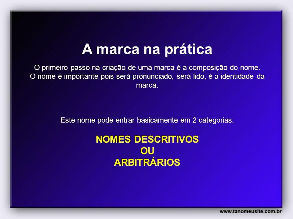 A marca na prática NOMES DESCRITIVOS OU ARBITRÁRIOS