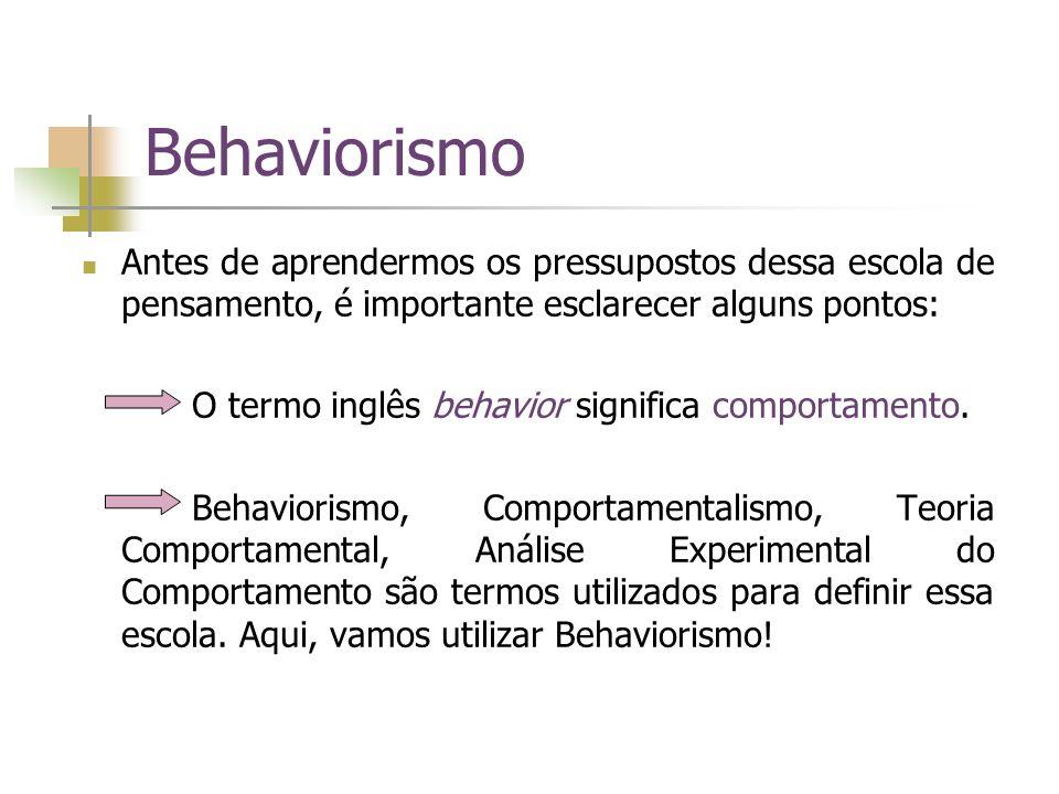 Behaviorismo Antes de aprendermos os pressupostos dessa escola de pensamento, é importante esclarecer alguns pontos: