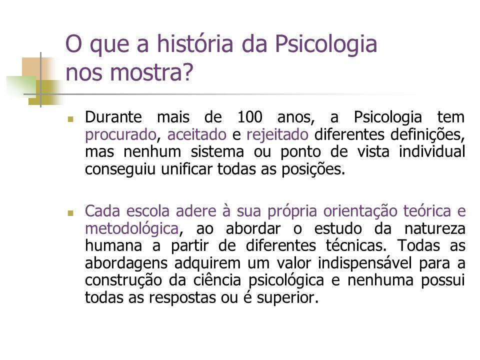 O que a história da Psicologia nos mostra