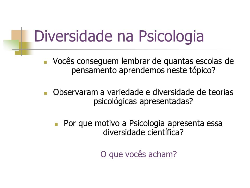 Diversidade na Psicologia