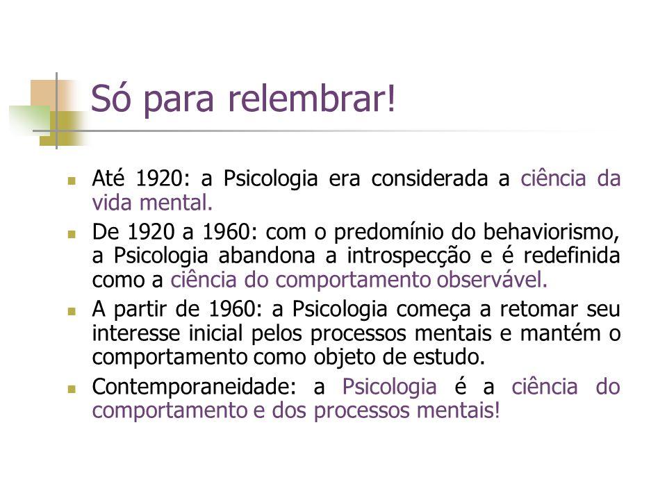 Só para relembrar! Até 1920: a Psicologia era considerada a ciência da vida mental.