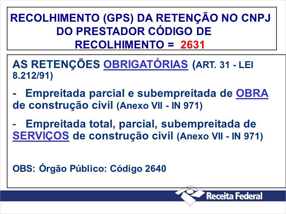 RECOLHIMENTO (GPS) DA RETENÇÃO NO CNPJ DO PRESTADOR CÓDIGO DE