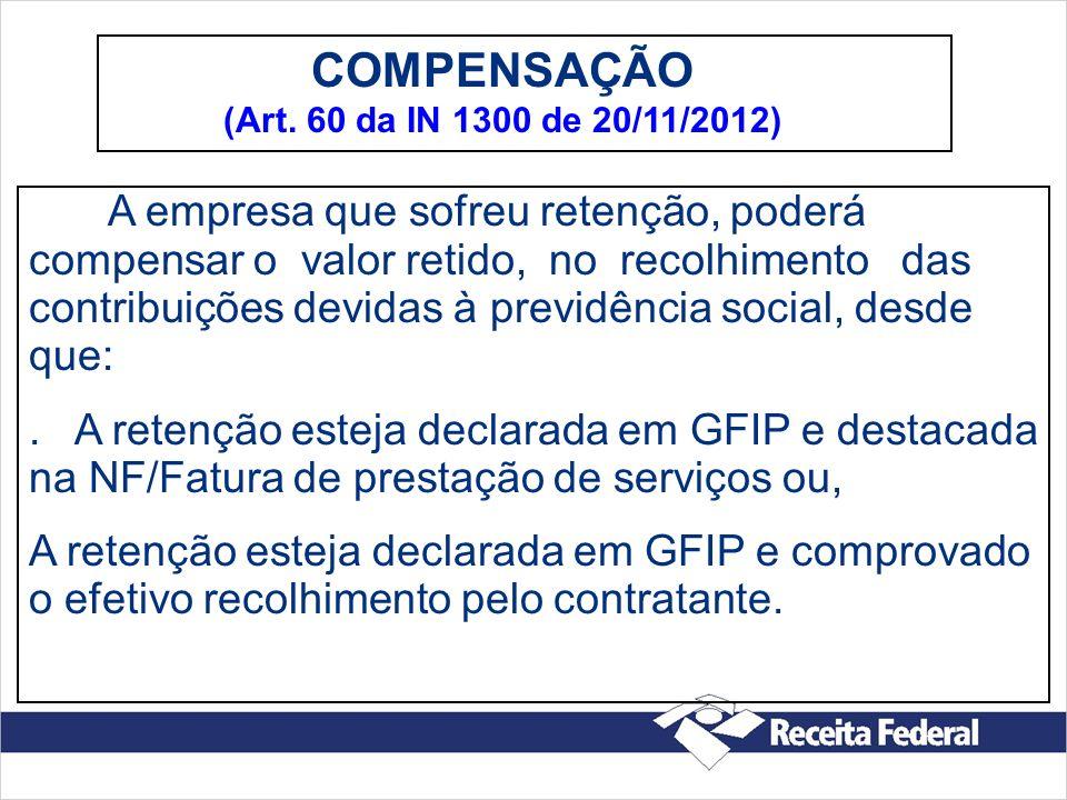 COMPENSAÇÃO (Art. 60 da IN 1300 de 20/11/2012)