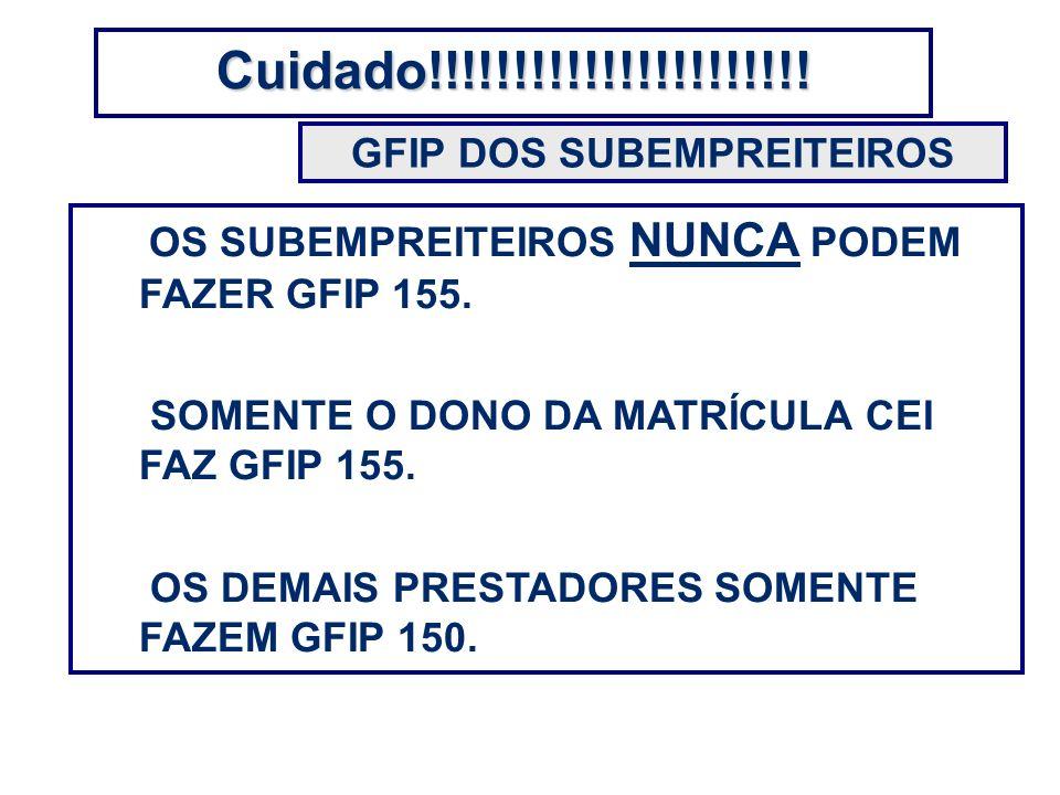 GFIP DOS SUBEMPREITEIROS