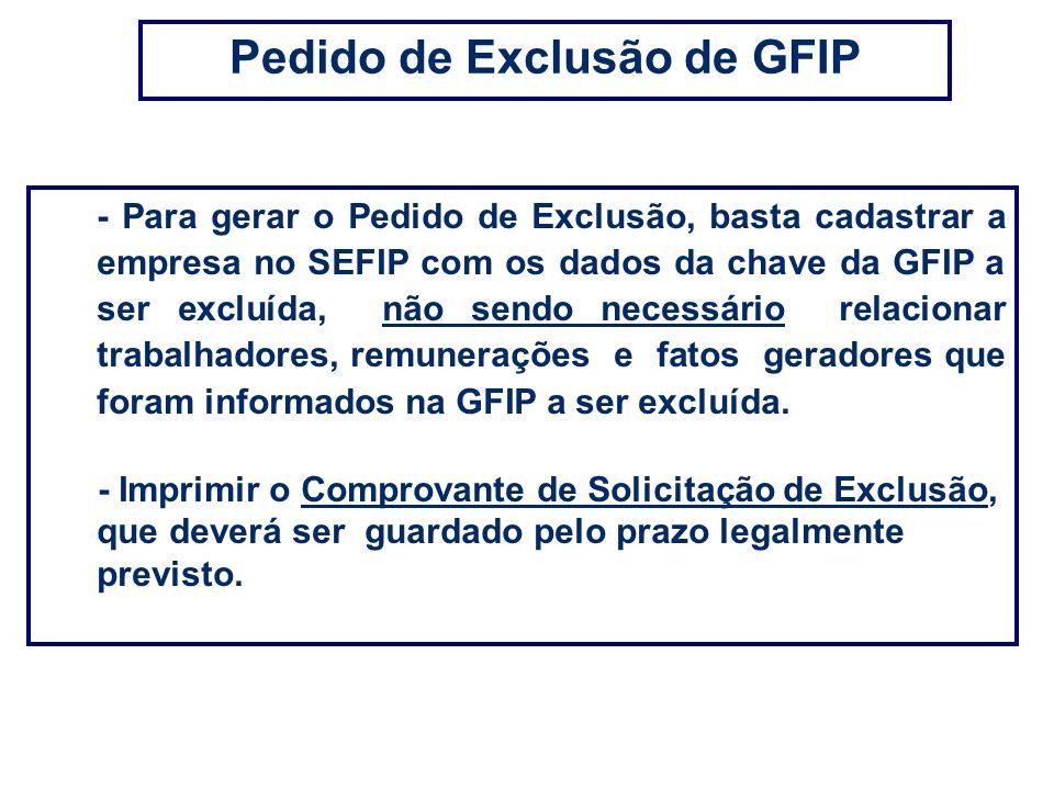 Pedido de Exclusão de GFIP