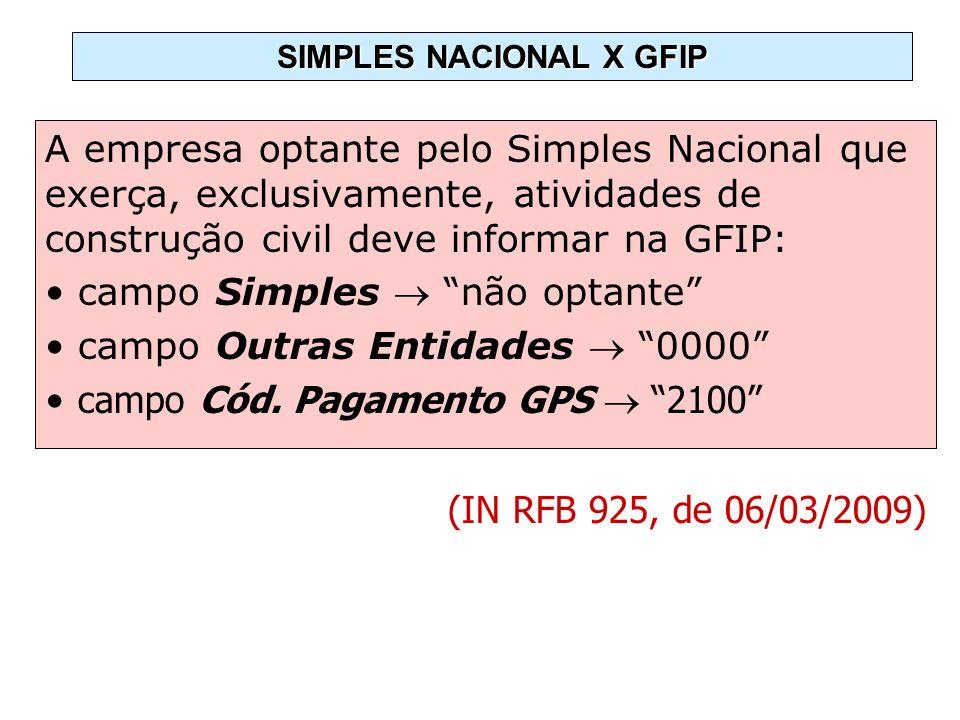 SIMPLES NACIONAL X GFIP