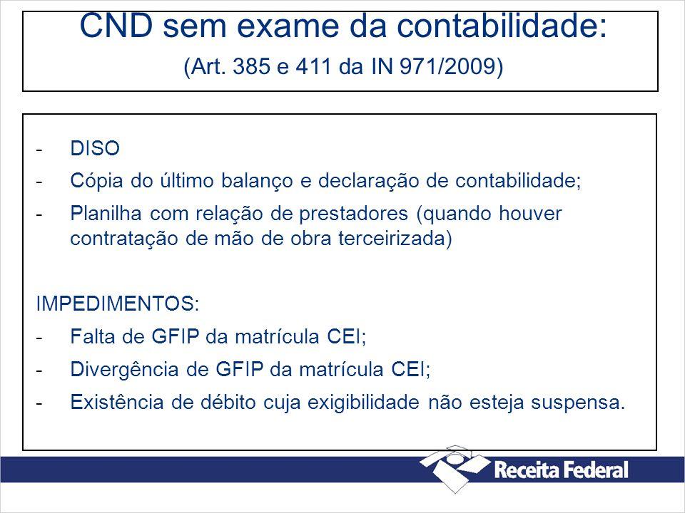 CND sem exame da contabilidade: