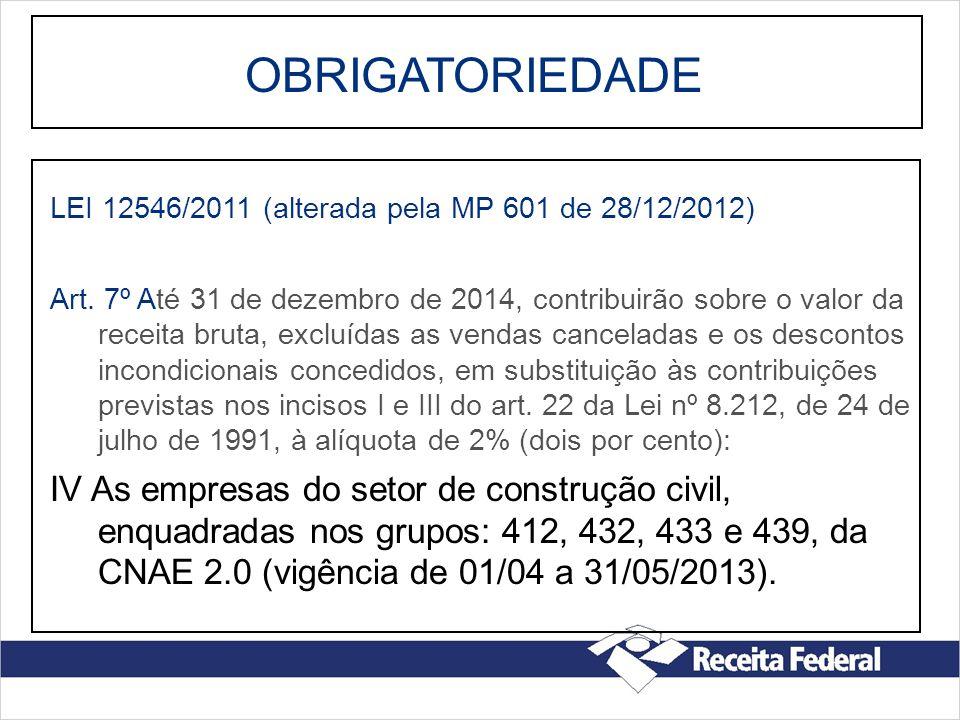 OBRIGATORIEDADE LEI 12546/2011 (alterada pela MP 601 de 28/12/2012)