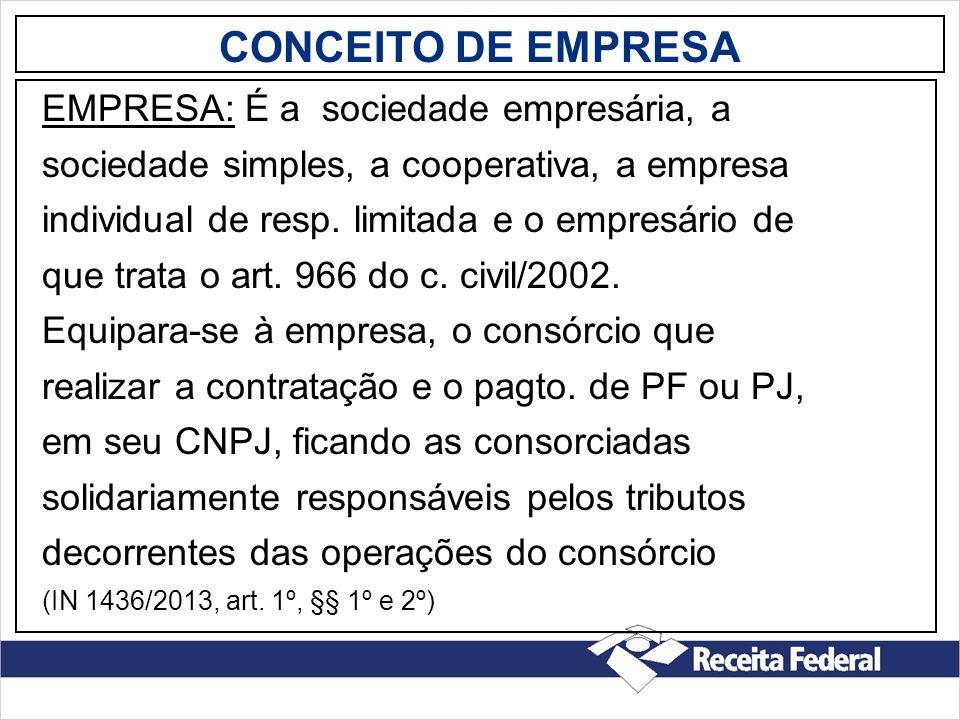 CONCEITO DE EMPRESA EMPRESA: É a sociedade empresária, a