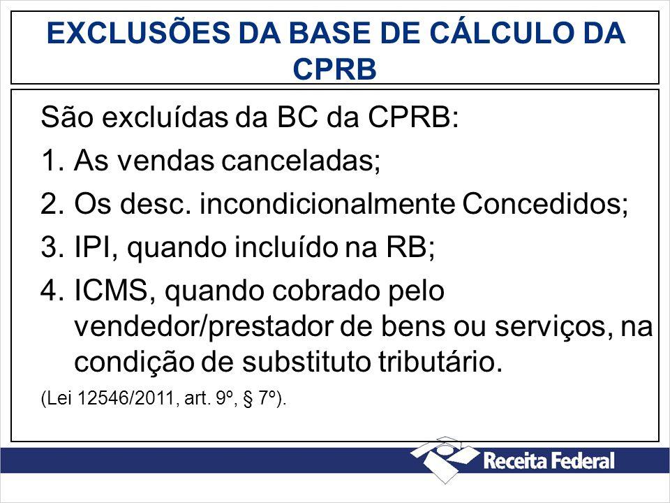 EXCLUSÕES DA BASE DE CÁLCULO DA CPRB