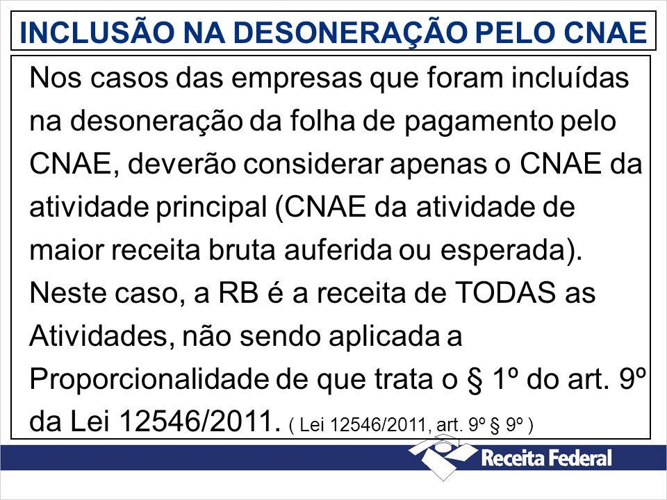 INCLUSÃO NA DESONERAÇÃO PELO CNAE