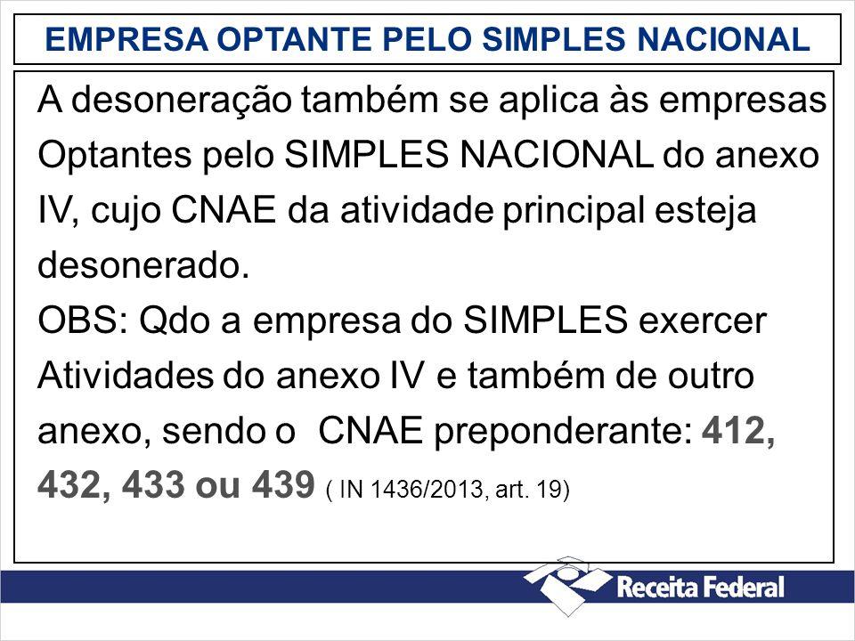EMPRESA OPTANTE PELO SIMPLES NACIONAL